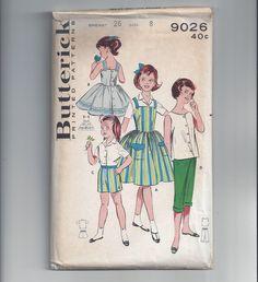 Butterick 9026 Pattern for Girls' Sportwear Wardrobe, Size 8, UNCUT, Jumper, Dress, Shirt, Pedal Pushers, Shorts, Circa 1950s, Cute! by VictorianWardrobe on Etsy