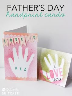 DIY Gifts : Make some Easy Handprint Father's Day Cards with your kids! Handmade Father's Day Gifts, Diy Father's Day Gifts, Father's Day Diy, Handmade Cards, Fathers Day Art, Fathers Day Crafts, Sister Crafts, Daddy Day, Handprint Art