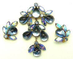 Vintage ALICE CAVINESS Runway Set Large Brooch Pin and Earrings Sparkling! #AliceCaviness #BroochPinClipEarrings