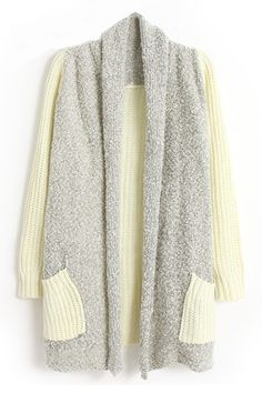 ROMWE   Color Block Pocketed Beige Cardigan, The Latest Street Fashion