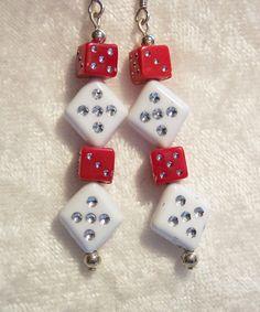 Red Earrings, Dice Earrings, White Earrings, Silver Foil, Dice, Yahtzee, Casino Earrings, Bunco Game, Dangle Earrings by bagsnbeadsoregon on Etsy