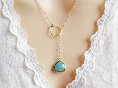 Mint Lariat Necklace, Mother's Day, Necklace for Her, Necklace for Mom, Gemstone Necklace, Bridesmaid Necklace, Best Friend Necklace