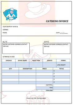 CATERING INVOICE 3 Invoice Sample, Invoice Format, Invoice Template Word, Catering Menu, Catering Services, Catering Ideas, Bill Template, Templates Free, Starting A Catering Business