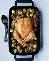 Whole Roast Chicken with 40 Brussels Sprouts Recipe on Food & Wine