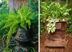 how to reuse and recycle old stoves for garden decorations and planters in vintage style Small Garden Tool Storage, Small Garden Tools, Metal Planters, Flower Planters, Flower Pots, Container Plants, Container Gardening, Alter Herd, Old Stove