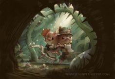 Hansel and Gretel in the woods. Art by Jennifer Meyer.