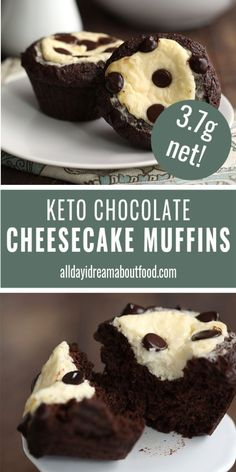 Keto Chocolate Cheesecake Muffins Tender keto chocolate muffins with a sugar-free cheesecake center. Just like a bakery but so much healthier. Make your keto mornings fun again. Nut-free option too! Keto Cheesecake, Sugar Free Cheesecake, Keto Cake, Chocolate Cheesecake, Chocolate Muffins, Chocolate Frosting, Keto Cupcakes, Low Carb Sweets, Low Carb Desserts