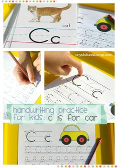 handwriting practice for kids c is for car and c is for cat