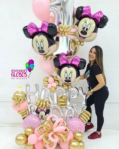 Birthday Balloon Decorations, Birthday Balloons, Minnie Mouse Balloons, Baby Shower Backdrop, Balloon Bouquet, Handmade Decorations, Yard Art, Party Gifts, Girl Birthday