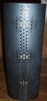 One of several different black vases - Porcelaine Noire - embellished with black and gold patterns, signed by Tapio Wirkkala. Black Vase, Gold Pattern, Vases, Patterns, Design, Porcelain Black, Block Prints, Vase