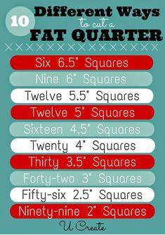 10 ways to cut a fat quarter for sewing projects!