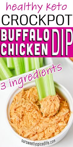 Easy Keto Crockpot Buffalo Chicken Dip - This keto crockpot buffalo chicken dip is the perfect healthy dip recipe for parties! This easy 3 ingredient recipe healthy is a slow cooker buffalo chicken dip that's delicious and an easy snack to make. If you're looking for healthy dip recipes low carb, check out this clean eating buffalo chicken dip. This keto buffalo dip recipe is a dairy free crockpot buffalo chicken dip easy. I love this 3 ingredient recipe crockpot chicken! Healthy Party Snacks, Spicy Vegetarian Recipes, Party Dip Recipes, Healthy Snack Options, Snacks To Make, Healthy Dips, Healthy Recipes On A Budget, Healthy Dinners, Crockpot Recipes