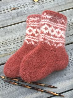 """Excited to share this item from my #etsy shop: Handknitted felted Norwegian wool socks in """"Setesdal"""" design"""