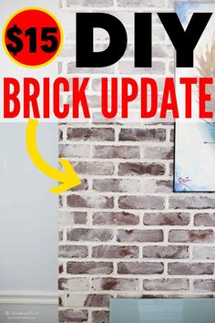 Got some ugly, outdated brick that you're dying to give a facelift? Here's a GREAT solution, that will cost about $15-20! #germansmear #mortarwash #whitewashing #updatebrick #brickupdate #howtoupdatebrick #howtowhitewashbrick #howtomortarwashbrick #howtogermansmearbrick #ideastoupdatebrick #ideastoupdatebrick White Wash Brick Fireplace, Faux Brick Walls, Brick Fireplace Makeover, Fireplace Remodel, Fireplace Design, Fireplace Seating, German Smear Technique, Wall Treatments, Textured Walls