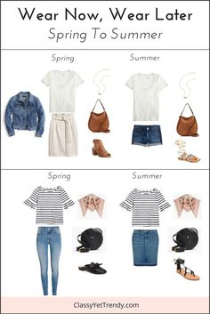 See how to transition 2 tops and accessories from Spring to Summer!  Get the most wear of your clothes in your closet by wearing a white tee and a striped bell sleeve top from Spring to the Summer.