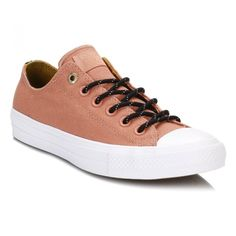 All Star Chuck Taylor II Pink Blush Shield Canvas Trainers ($46) ❤ liked on Polyvore featuring shoes, sneakers, canvas sneakers shoes, plimsoll shoes, pink sneakers, converse shoes and canvas sneakers