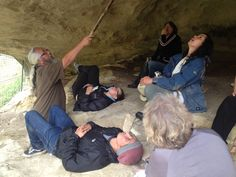 Karl Russell and Ngai Tahu artists Simon Kaan, Rachael Rakena, Helen Mudgway and Priscilla Cowie at the Opihi Taniwha rock art site
