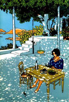 ilustración de Vittorio Giardino: recuerdos del verano... (as cores, o traço, tudo é apaixonante nessa ilustração)