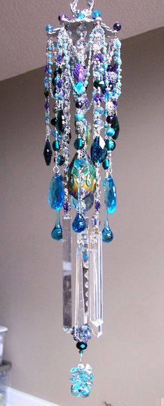 Pretty As A Peacock Antique Crystal Wind Chime