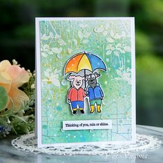 Penny Black Cards, Dog Cards, Distress Oxides, Dancing In The Rain, Having A Blast, Cute Images, Green Colors, I Card, More Fun