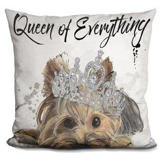 East Urban Home Queen of Everything Yorkie Throw Pillow