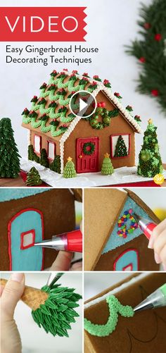 Easy Gingerbread House Decorating Techniques In this video, learn easy piping techniques to decorate your gingerbread house! Learn how to pipe garland, wreath, trees and outline windows and doors for a fun festive gingerbread house. Gingerbread House Pictures, Homemade Gingerbread House, Gingerbread House Template, Cool Gingerbread Houses, Gingerbread House Designs, How To Make Gingerbread, Gingerbread House Parties, Christmas Gingerbread House, Christmas Cookies