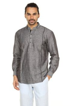 Smart, casual, refined, and effortless, relish in the fine line between dressed up and dressed down. Our A.N.D. by Anita Dongre men's tunics are made with soft cotton and have a classic fit that looks great with the sleeves rolled and the tunic un-tucked.
