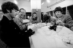 The Beatles photographed backstage at Candlestick Park in San Francisco, California, on August 29, 1966.