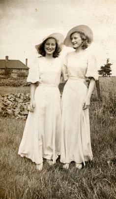 Two bridesmaids in the 1930s.