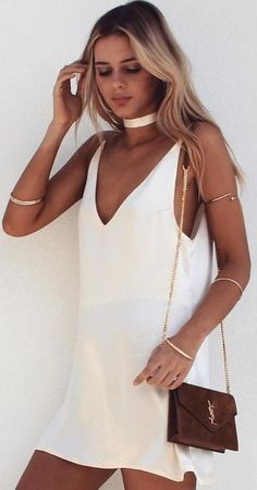 #summer #musthave #outfits  Little White Slip Dress