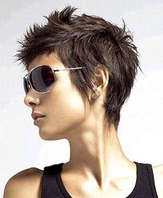 Short Funky and Spiky Hairstyles for Women with Straight Dark Hair Photos