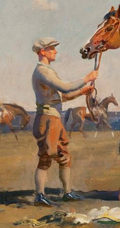 Mon Talisman, Chantilly (detail), 1928  - Sir Alfred James Munnings