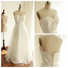 A-line+Wedding+Dress+-+Ivory+Floor-length+Sweetheart+Lace+/+Tulle+–+USD+$+99.99
