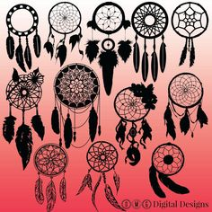 This listing is for an INSTANT DOWNLOAD for 12 Dream Catcher Silhouette images as shown in the images above.