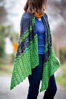 River Road is a bias knit rectangular wrap featuring two alternating versions of horseshoe lace. The wrap features 5 colour blocks, each merging into the other to create a large sumptuous wrap. This wrap is very adaptable – introduce your own colour changing sequence, or work the pattern in random colours as the mood takes you – a great way to make use of left over skeins of fingering weight yarn. For a shorter shawl simply work fewer colour blocks. For an even simpler wrap use just the…