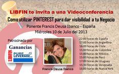 #LIBFIN te invita a una conferencia gratuita sobre esta gran red social Pinterest. registrate en http://libfin.gananciaspureleverage.com/conferencias/pc3/