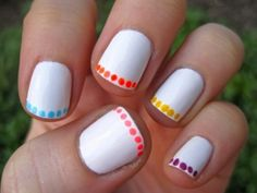Cool Nail Designs for Short Nails with White Color- I would only do it with one color at a time though