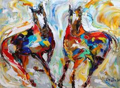 Original Oil painting Wild Horses EQUINE Palette knife by Karensfineart