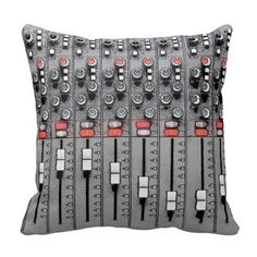 Audio Mixer / Sound Board Designer Pillow This cool illustration of a professional Audio Mixer (sound board) is perfect for your listening area, green room, or living room. It's a stylish gift for a musician, singer, rapper, agent, manager, producer, roadie, arranger, composer, sound board operator, audio engineer, recording studio, or audiophile.