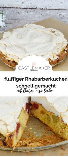 Saftiger Rhabarber trifft fluffigen Rührteig und knackige Baiserhaube. Das Rezept für den leckeren Rhabarberkuchen mit Baiser gibt es auf meinem Blog. #rezept #rhabarber #rhabarberkuchen