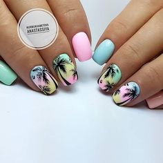Beautiful nails 2018 Bright fashion nails Marine nails Palm tree nail art Pink and blue nails Summer nails 2018 Two color nails Vacation nails for summer Summer Nails 2018, Cute Summer Nails, Pink Summer, Summer Time, Summer Colors, Summer Holiday Nails, Summer Beach Nails, Bright Nails For Summer, Summer Nail Art