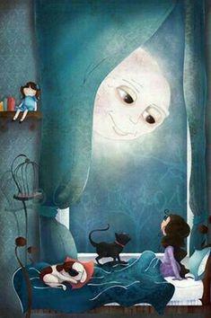 Good night, said the man in the moon, sleep well, I am watching over you. Art And Illustration, Illustrations, Art Watercolor, Good Night Moon, Moon Magic, Sun And Stars, Beautiful Moon, Moon Art, Pics Art
