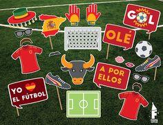 97d885810c1 Spain Soccer Printable Photobooth Props
