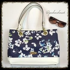 """Liz Claiborne Floral Tote Shoulder Bag Beautiful blue and white floral tote with gold hardware. 15"""" long by 10"""" high by 4.5"""" deep. Bottom base is 5"""" wide and 14"""" long. 9.5"""" handle drop. Interior has a middle zippered compartment. 2 side compartments with multiple pockets. Top snap closure. This is stunning! New with tags! Retails for $75. Liz Claiborne Bags Totes"""