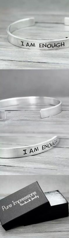 A simple yet perfect reminder that you ARE enough. Pure Impressions creates its hand stamped jewelry and inspiration jewelry one at a time.