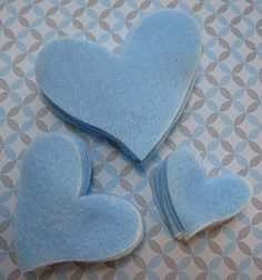 Sky blue set of 36 felt heart die cut hearts by WhimsyFelt on Etsy