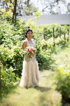 Love this alternative wedding gown  one of our brides wore at her destination wedding in Sonoma. Event design: Mango Muse Events. Photography: Arrowood Photography