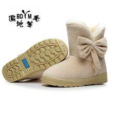 Nuevo 2016 Mujeres de Invierno Arco Botas de Nieve antideslizantes Moda Corto de Arranque de la Mujer de Algodón Lindo Zapatos de Piel En El Interior Botín caliente(China (Mainland))