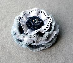 Blue flower brooch Flowers brooch Boho cotton textile brooches