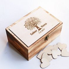 Personalized Wedding guest book Alternative, Heart Guest Book, Custom Wooden Keepsake box, Recipe Box with 100 hearts. ※※Product Detail ※※ wood box*1 pcs heart wooden *100pcs box size :8.46inch*5.98inch*2.95inch size of heart wood :1.89inch ※※Custom Order ※※ Please let me know the following information in 'notes to seller' when you place the order 1 Style Number 2 Your personalized names and date 3 Short phrase underneath the date 4 Phrase inside this box. .